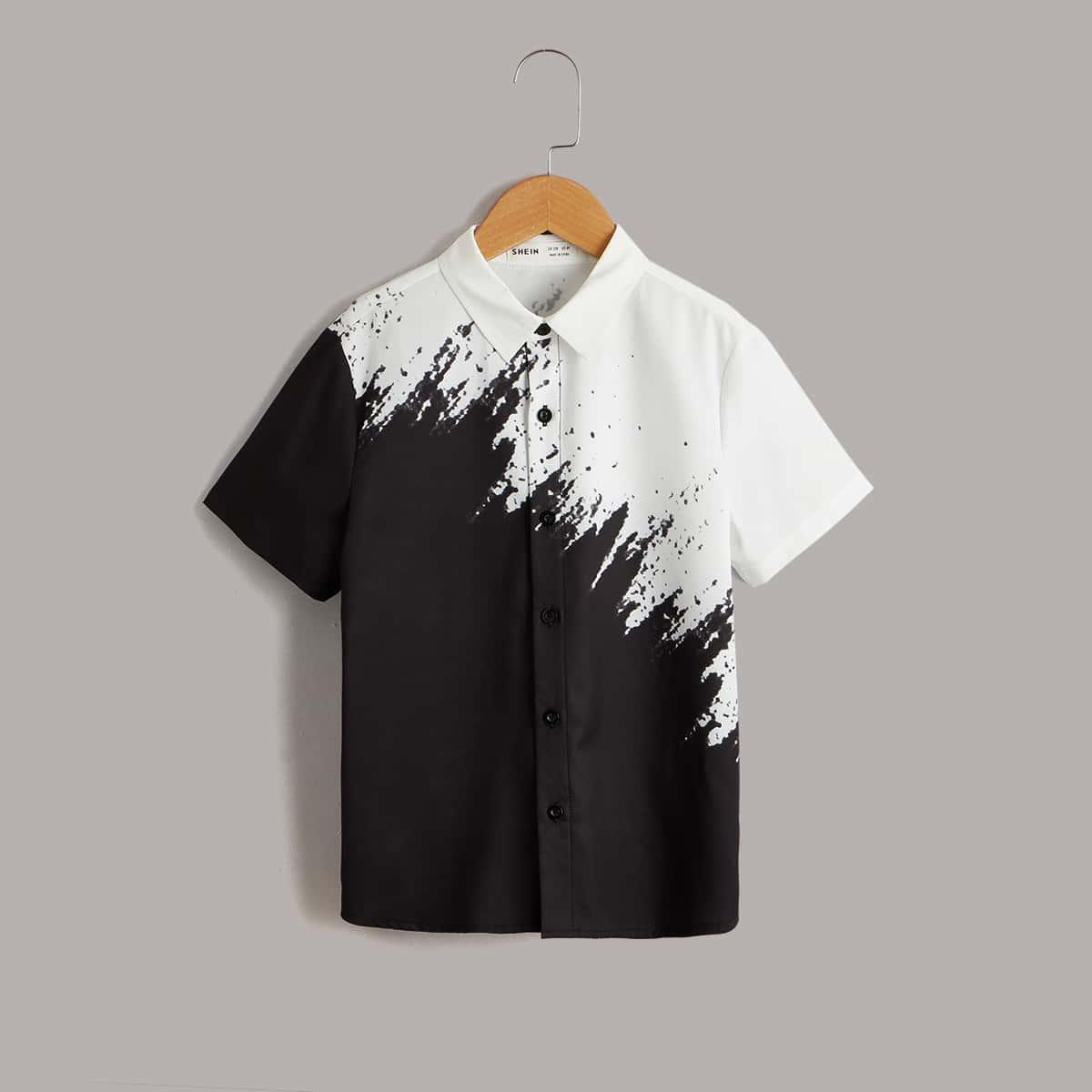 для мальчиков Рубашка чернила узором на пуговицах