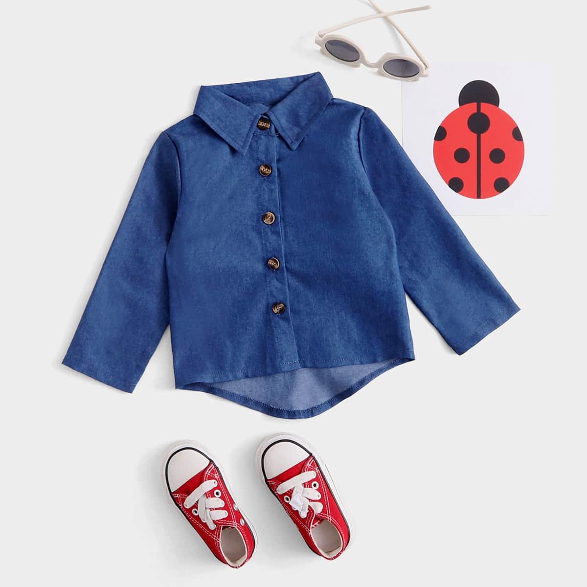 детский Джинсовая рубашка асимметричный от SHEIN