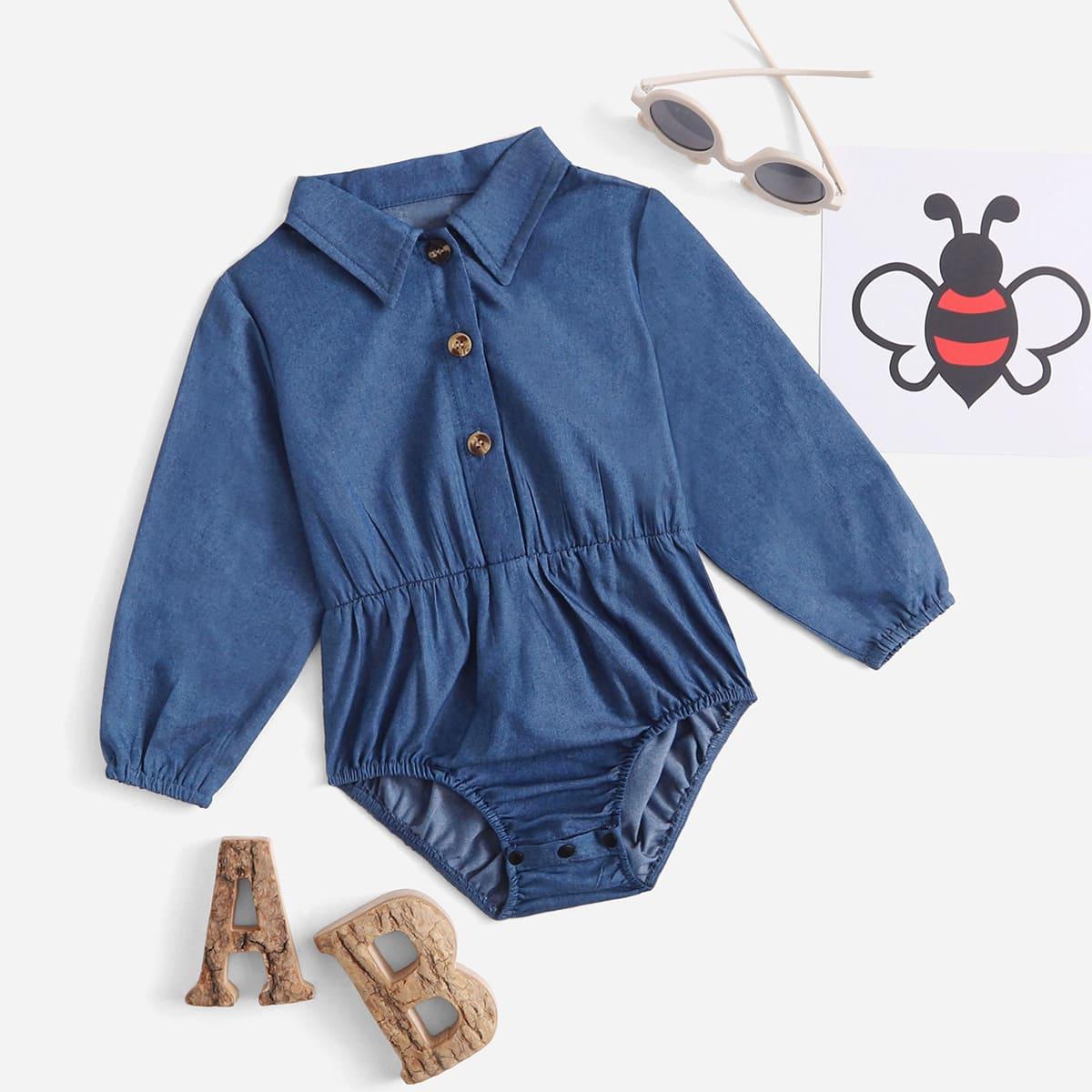 детский на пуговицах Джинсовая рубашка Боди от SHEIN
