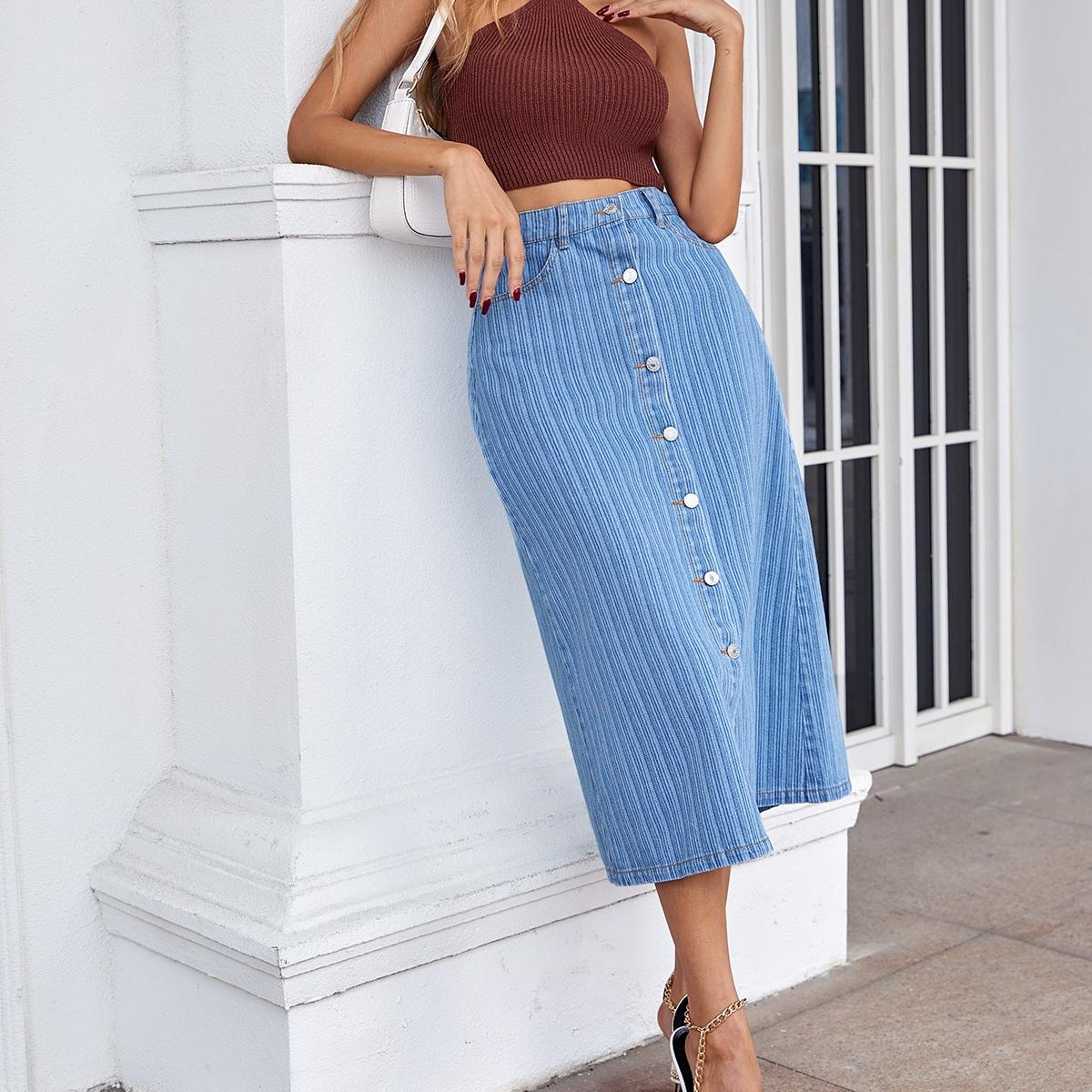 Джинсовая юбка с молнией SheIn sW210508503261201
