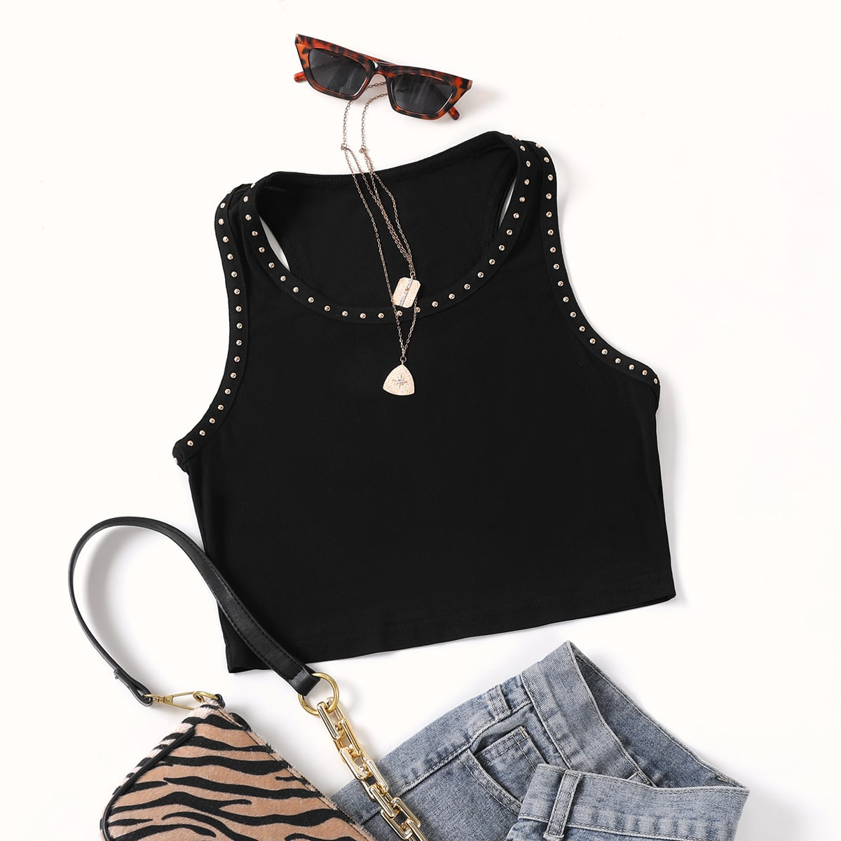Plus Beaded Crop Tank Top, SHEIN  - buy with discount
