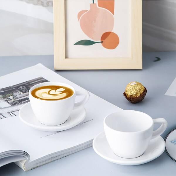 1pc Tea Cup & 1pc Saucer Set, White