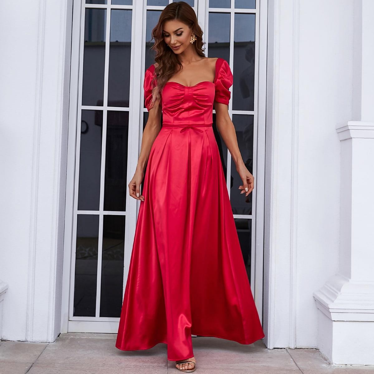 Платье пышным рукавом из атласа SheIn swdress31210520337