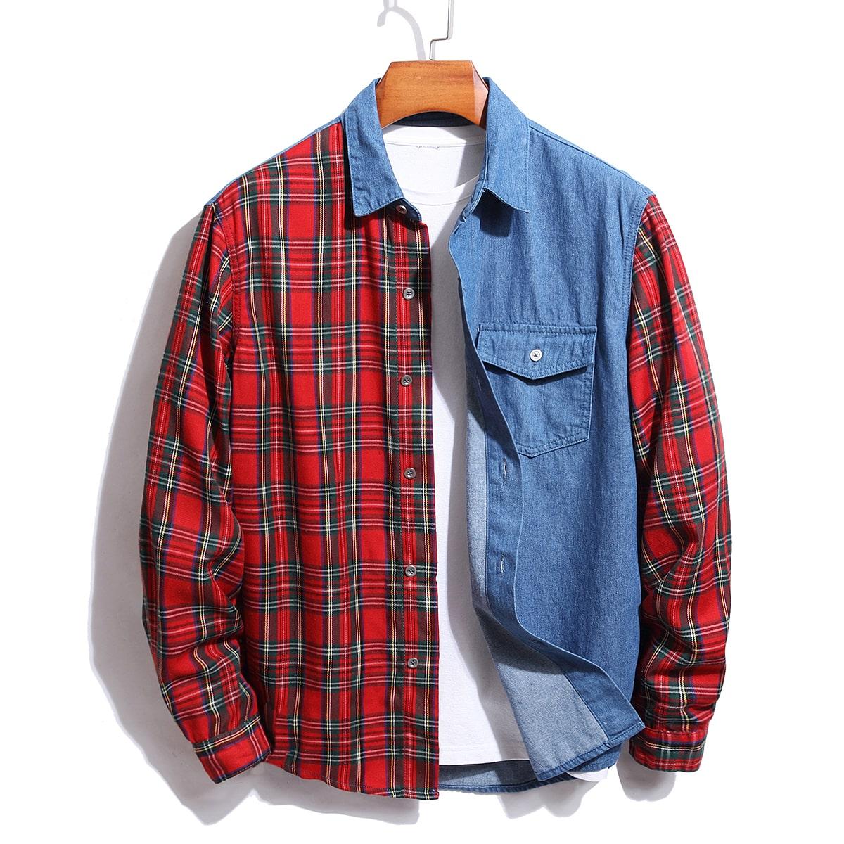 Мужской Джинсовая рубашка контрастный в клетку с карманом без футболки