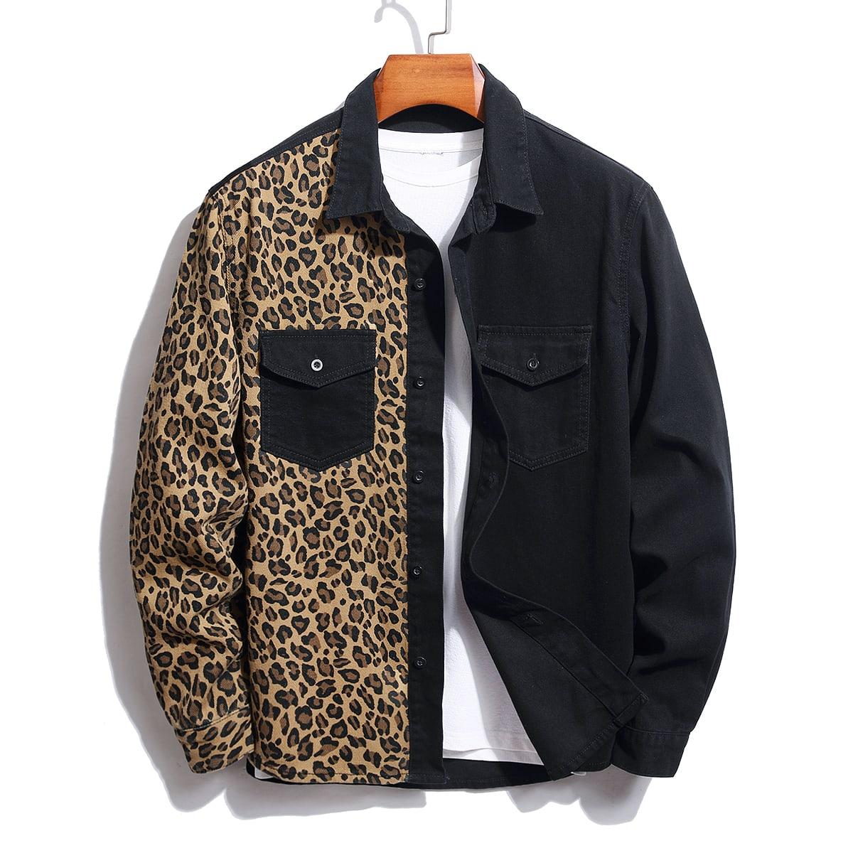 Мужской Джинсовая рубашка с леопардовым принтом с карманом