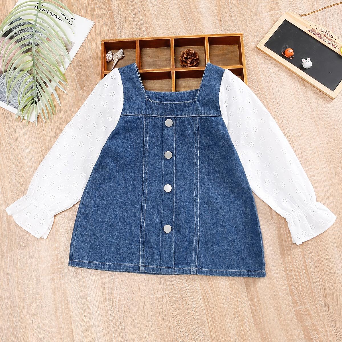 для девочек Джинсовое платье с ажурной вышивкой с рукавами-воланами однобортный SheIn sK210616639681482
