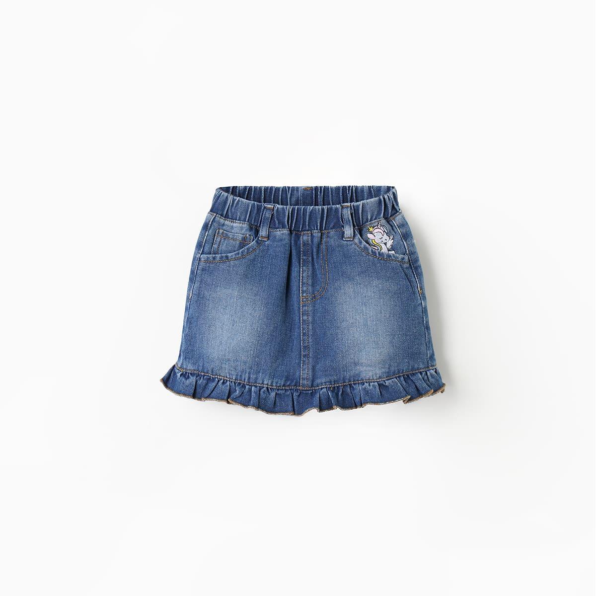 Джинсовая юбка с мультипликационной вышивкой для девочек