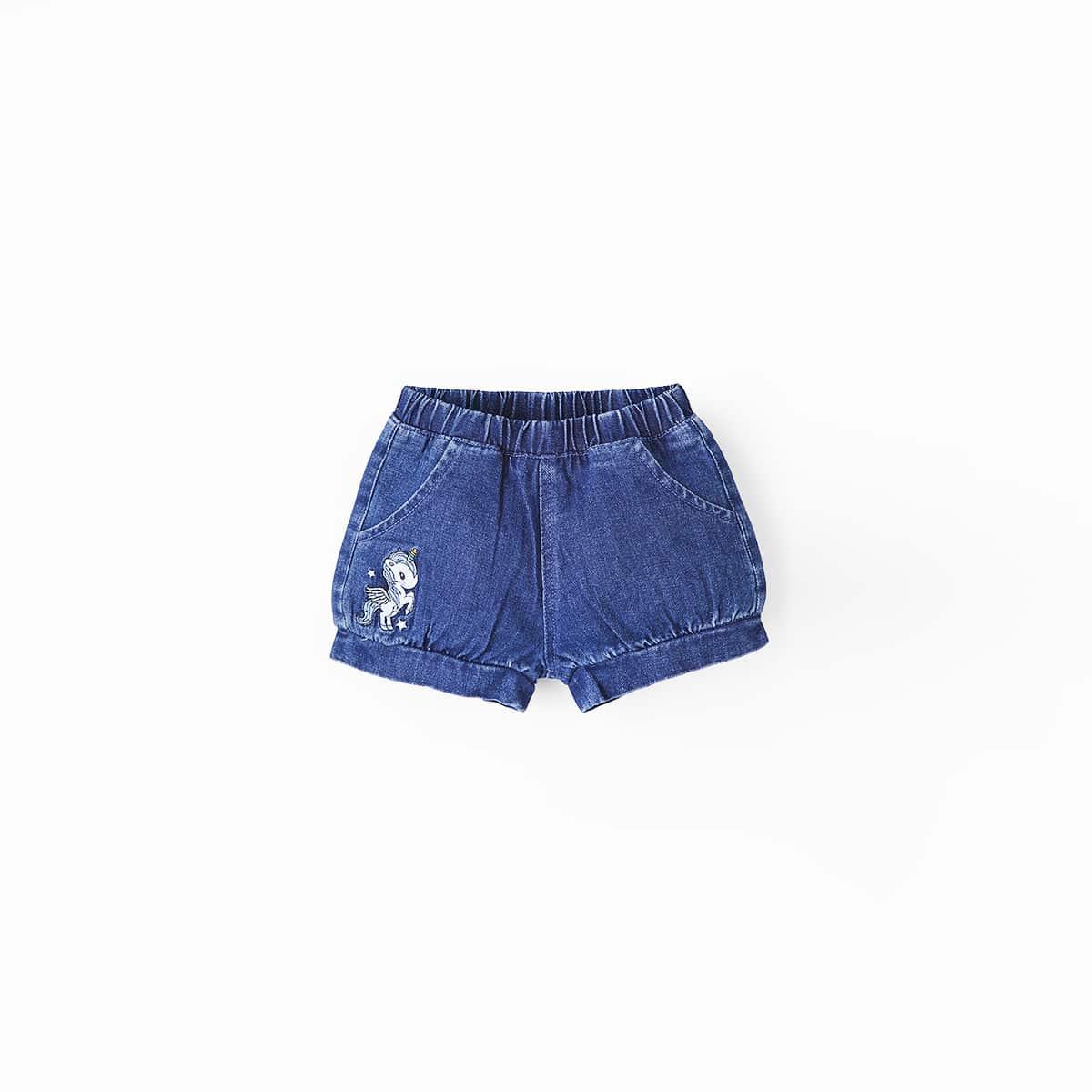 для девочек Джинсовые шорты вышивкой от SHEIN