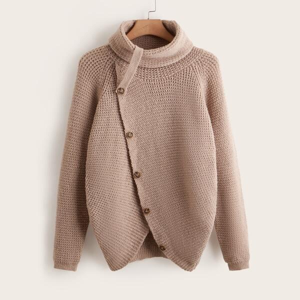 Plus Turtleneck Button Detail Raglan Sleeve Sweater, Khaki