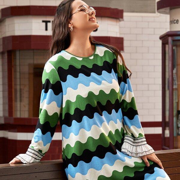 Plus Colorblock Ruffle Trim Dress, Multicolor