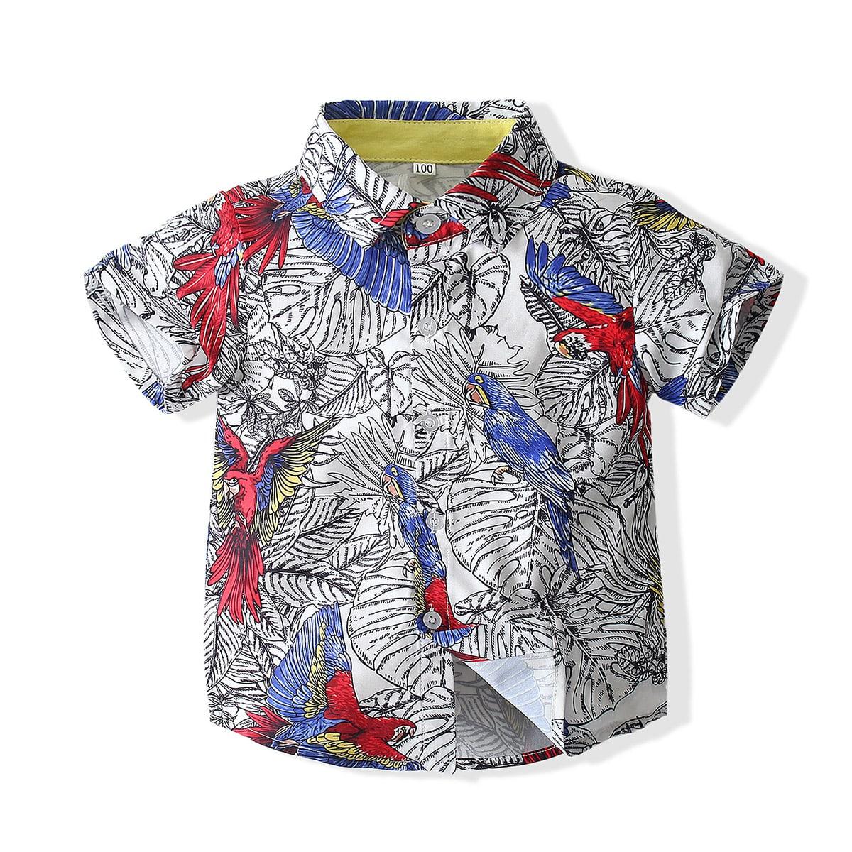 для мальчиков Рубашка попугай и с тропическим принтом