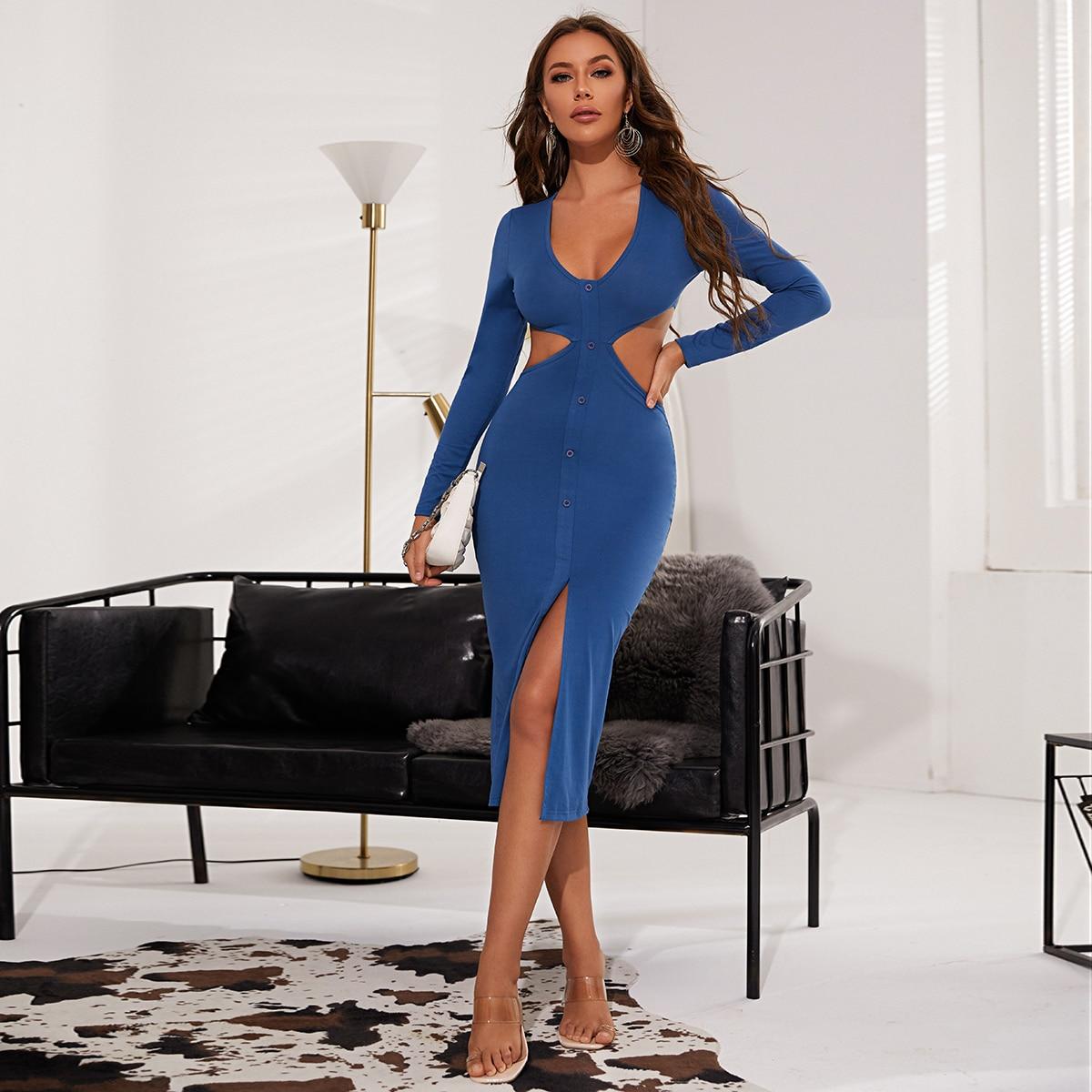 Облегающее платье с разрезом с разрезом SheIn sW210604553312202