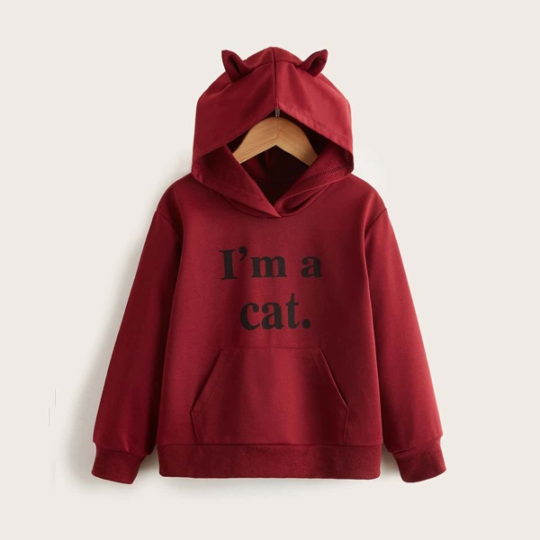 Girls Slogan Graphic Kangaroo Pocket 3D Design Patched Hoodie, Burgundy
