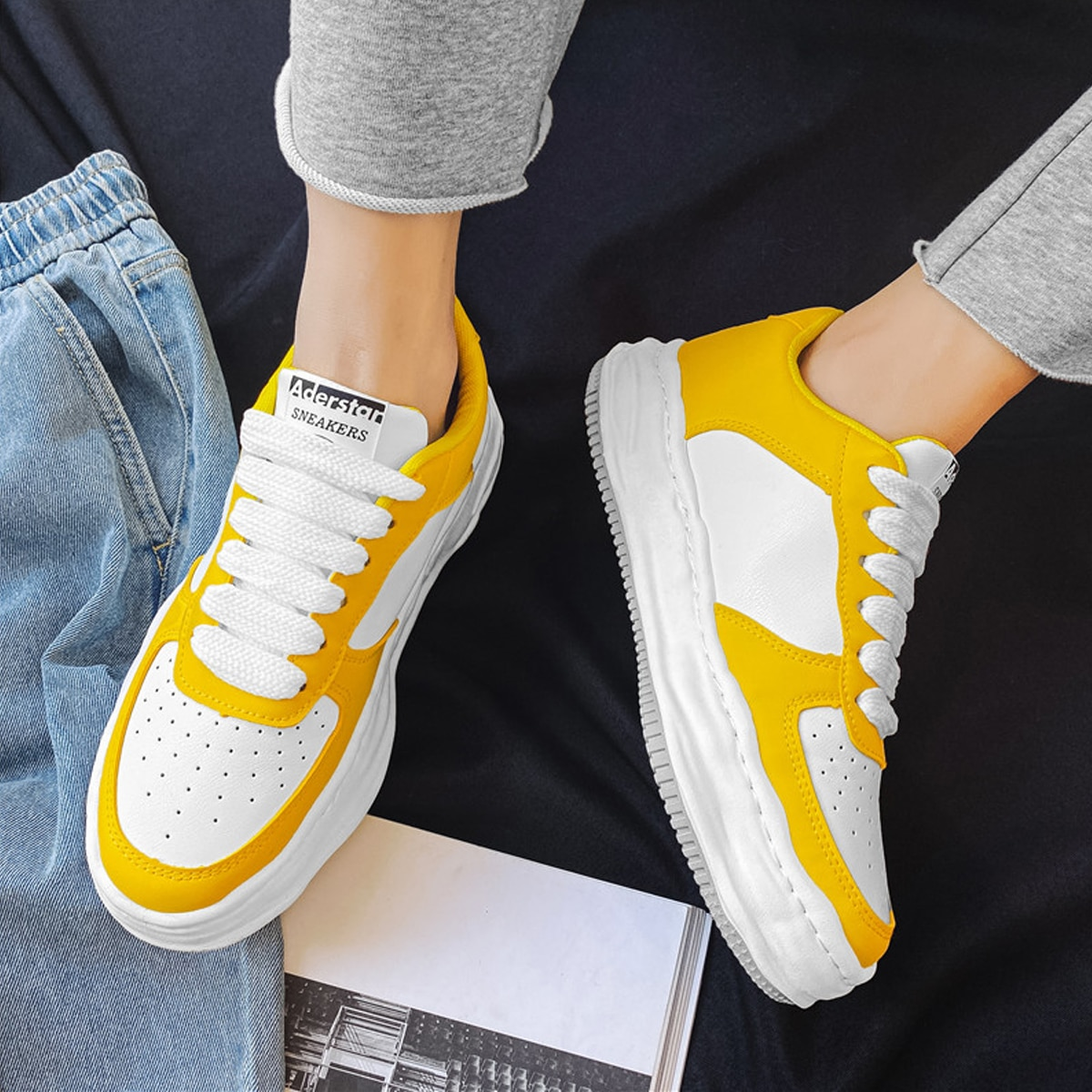 Men Two Tone Lace-up Sneakers, SHEIN  - buy with discount