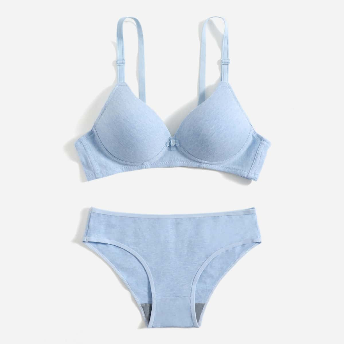 Синий одноцветный минимализм комплект нижнего белья