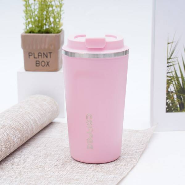 1pc Stainless Steel Vacuum Cup, Pink