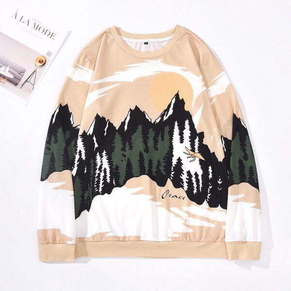 Men Landscape Print Sweatshirt, Multicolor