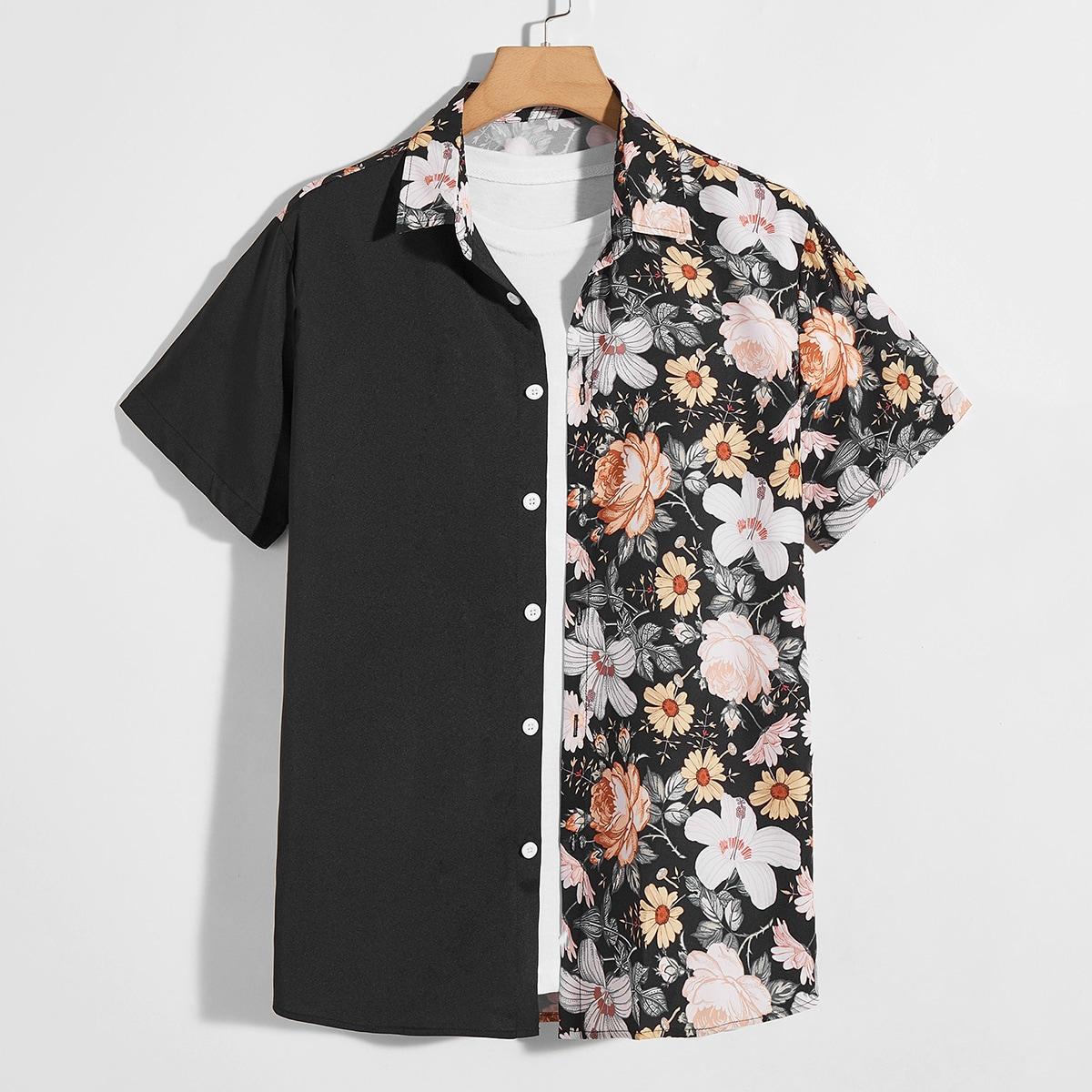 Мужской Рубашка с цветочным рисунком контрастный без футболки