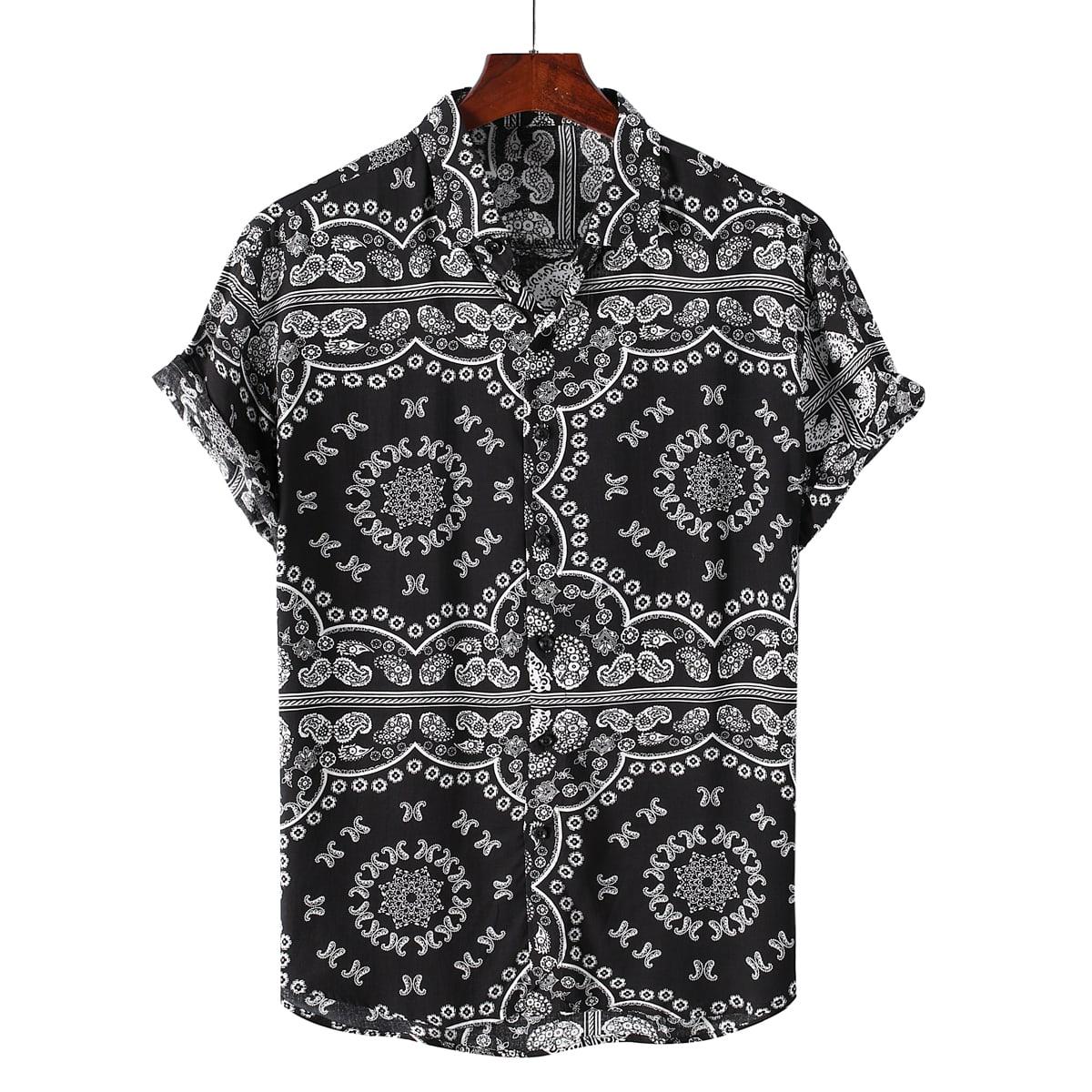 Пуговица Пейсли Отпуск Мужские рубашки SheIn smshirt25210610671