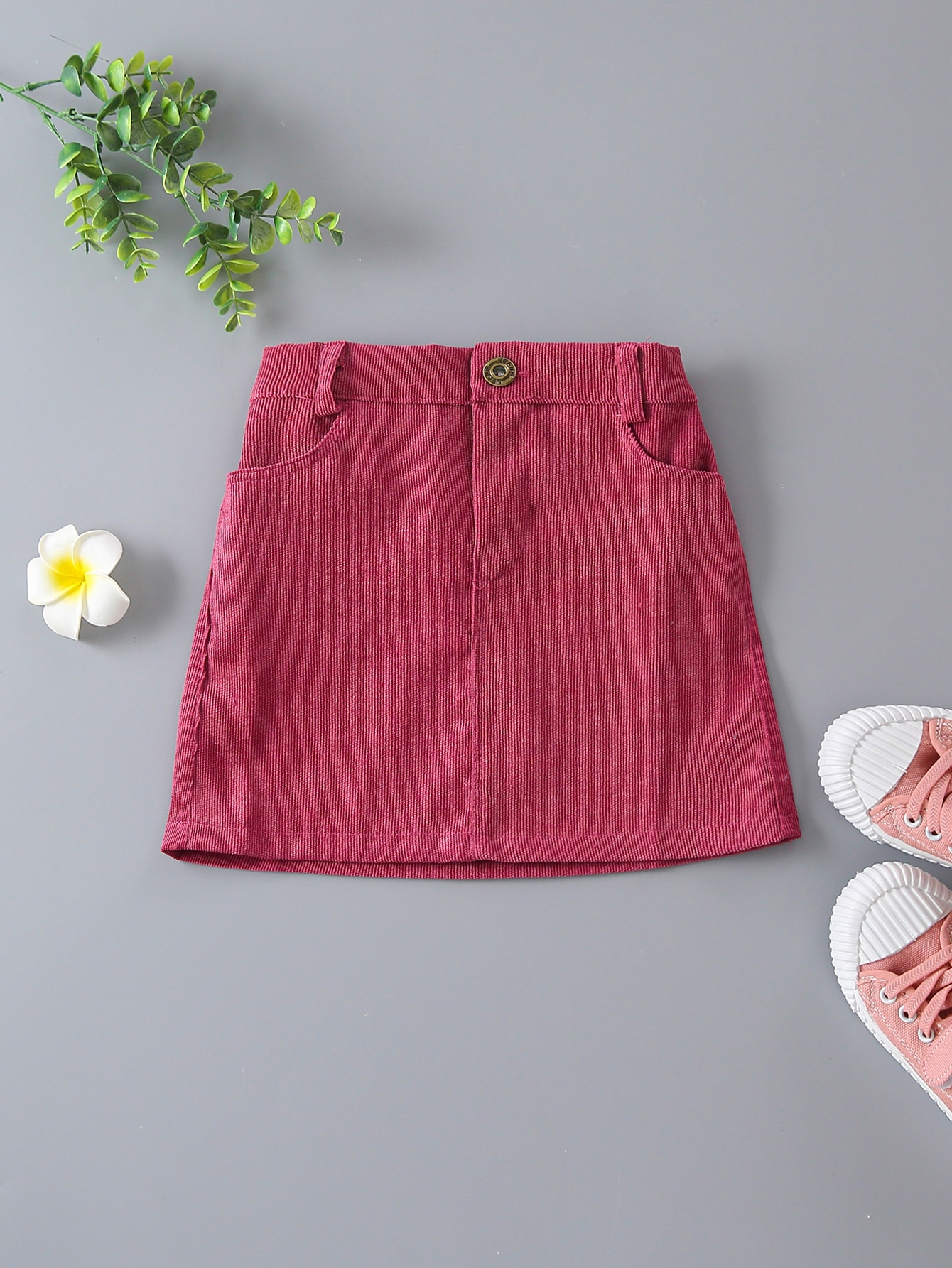 Toddler Girls Pocket Front Corduroy Skirt