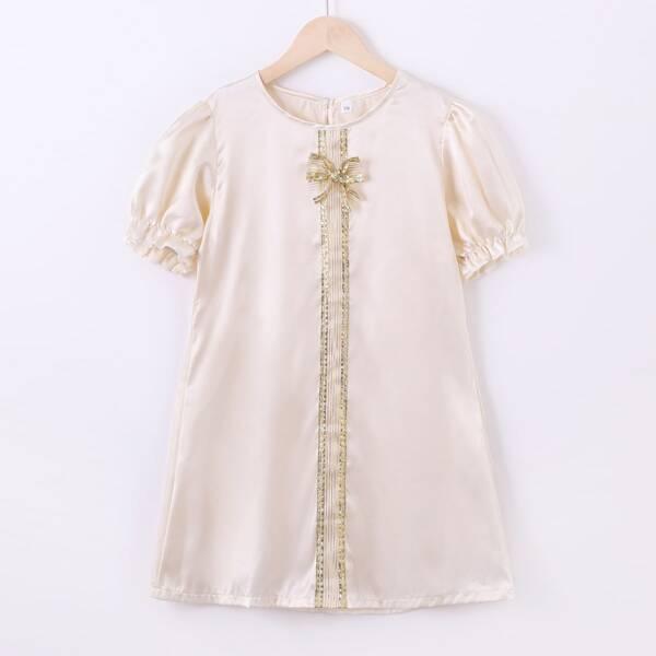Girls Puff Sleeve Keyhole Back Satin Dress, Champagne