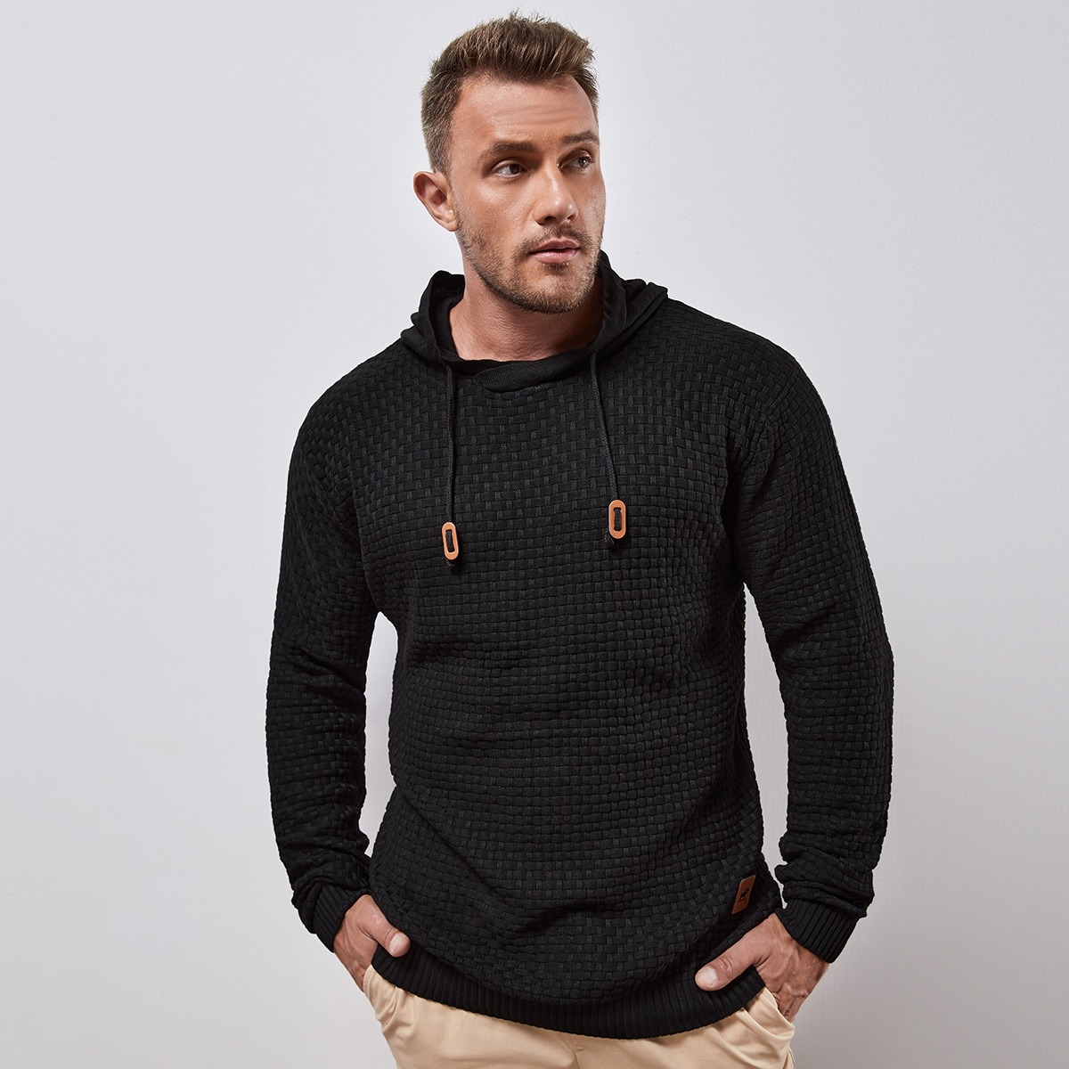 Men Patch Detail Hooded Sweater, SHEIN  - buy with discount