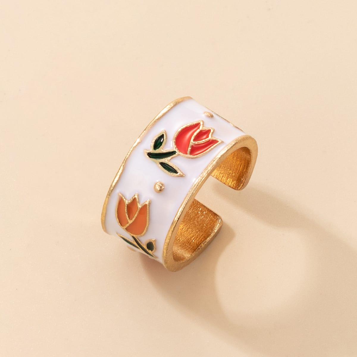 Открытое кольцо с цветочным узором