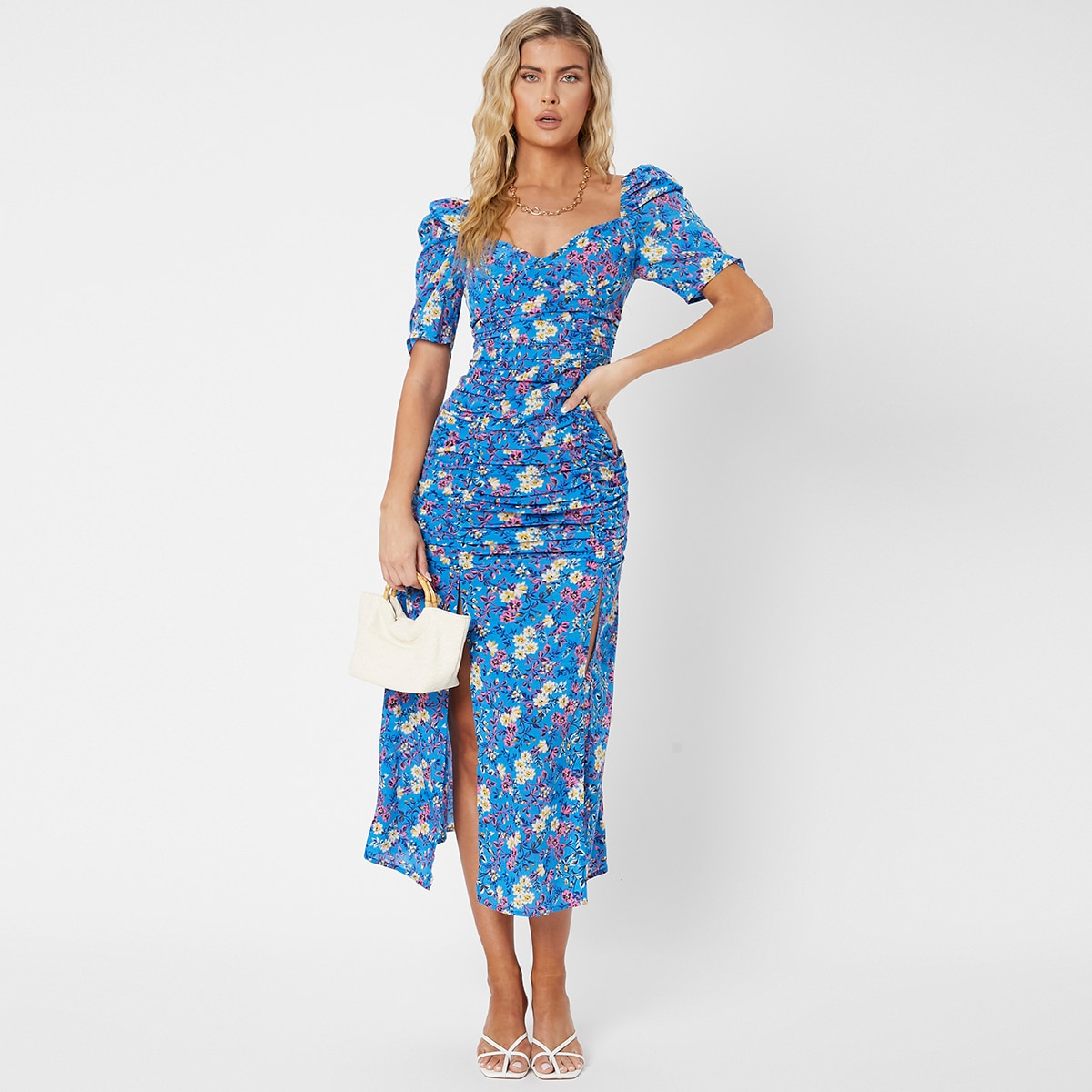 Floral Print Puff Sleeve Ruched Split Thigh Dress, SHEIN  - buy with discount