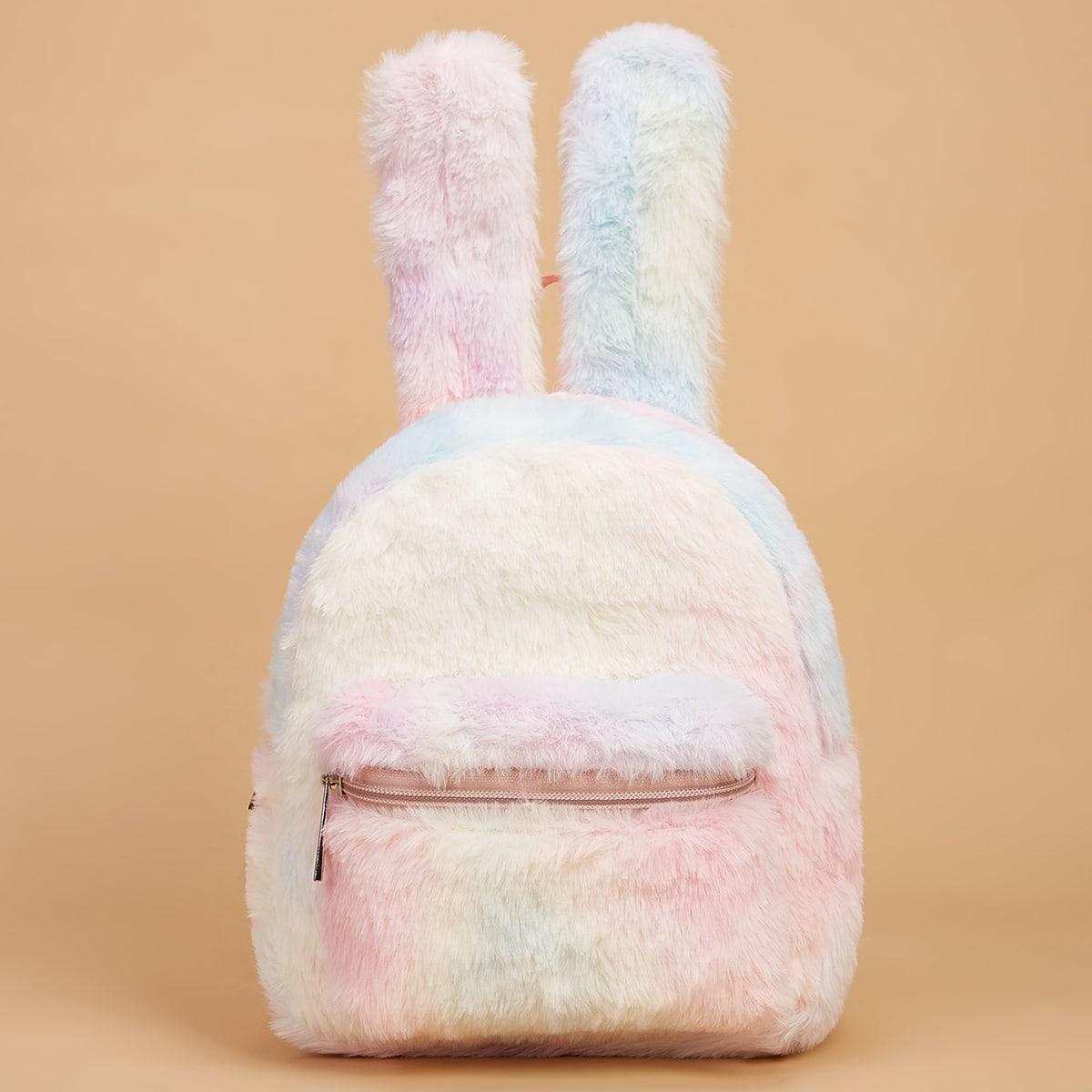 Рюкзак с ушками с принтом тай-дай плюшевый