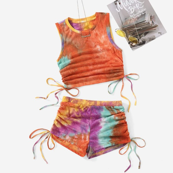 Tie Dye Drawstring Ruched Knot Side Crop Tank Top & Shorts Set, Multicolor