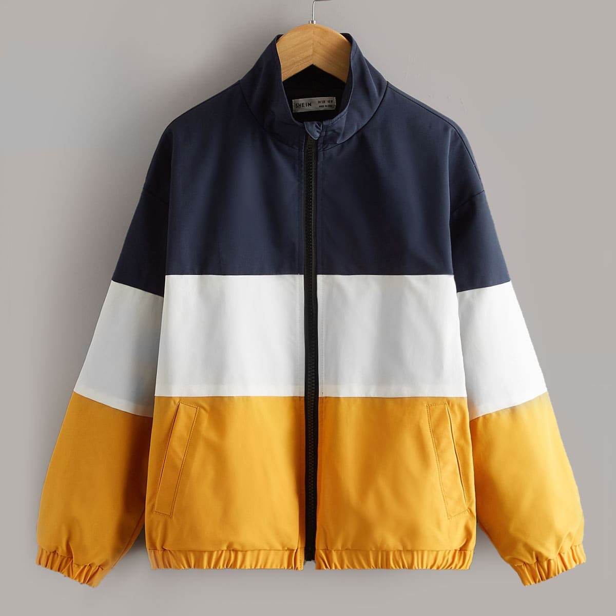 Boys Zip Up Colorblock Drop Shoulder Jacket