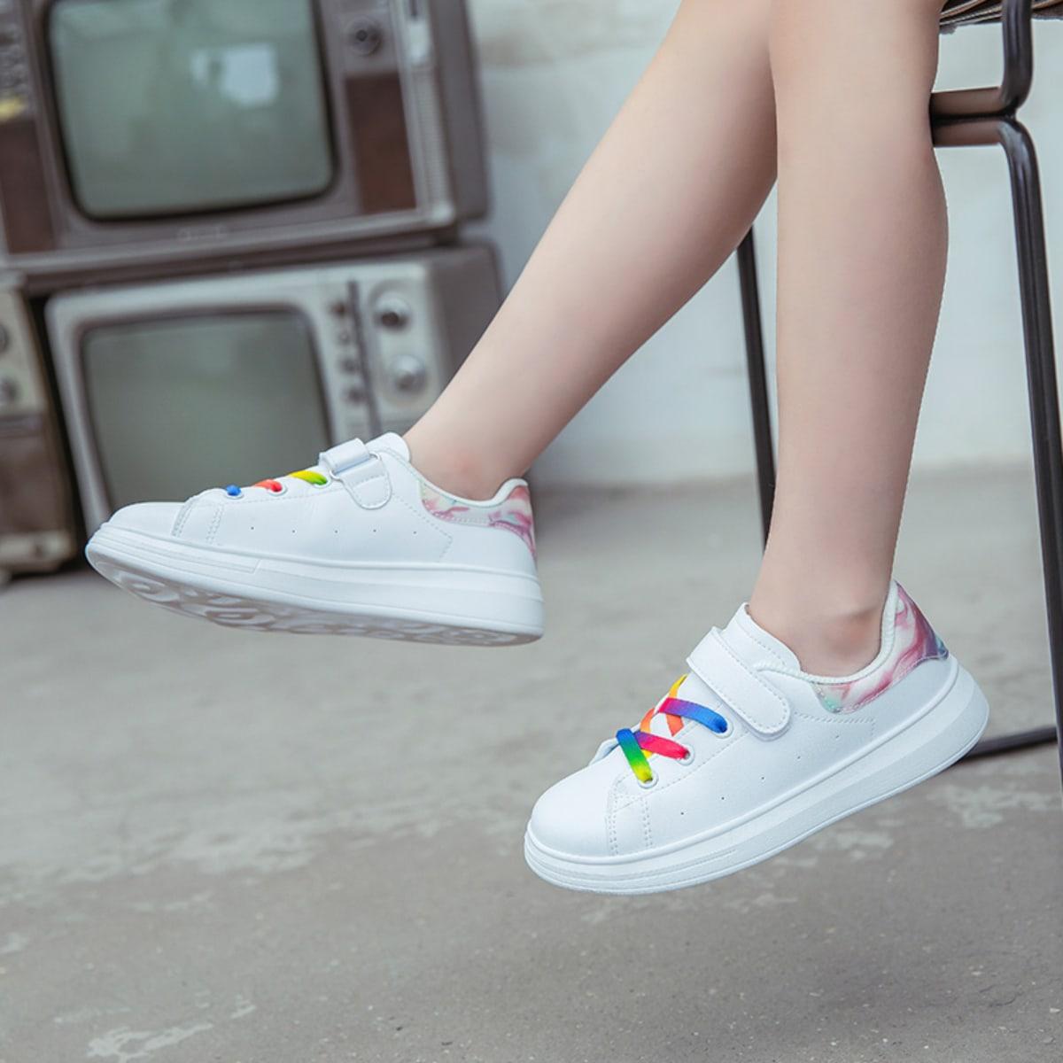 Обувь для скейтбординга с принтом тай-дай на липучке для девочек от SHEIN