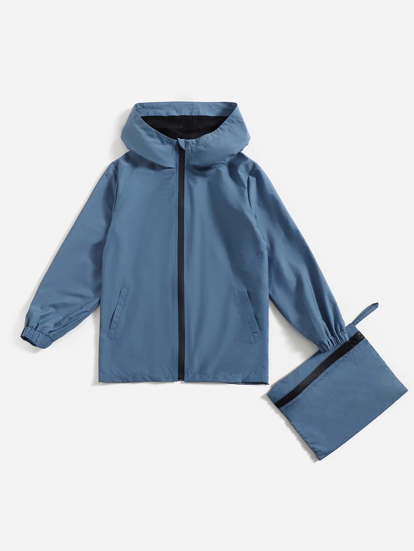 Boys Zipper Up Hooded Windbreaker Jacket With Bag
