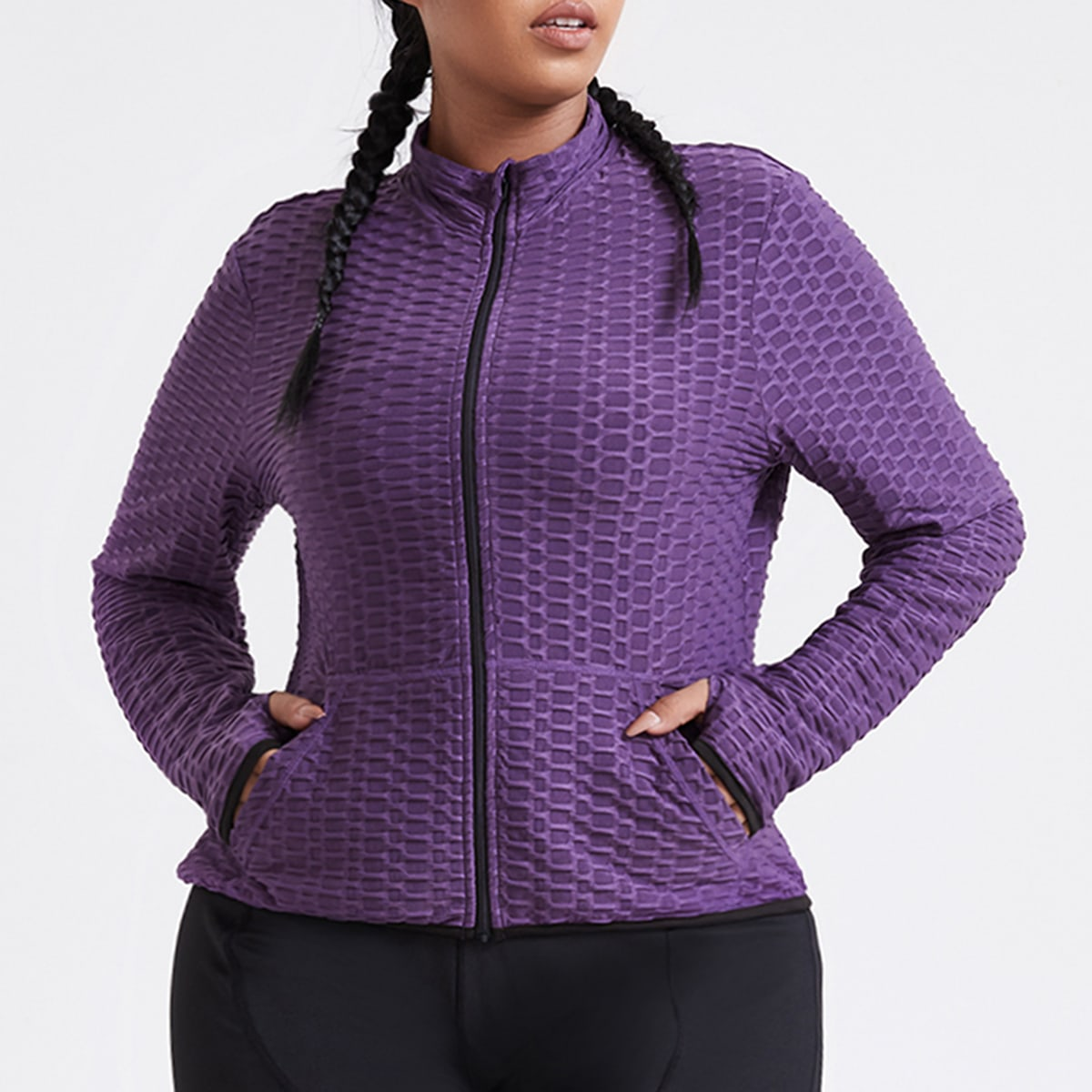 Plus Honeycomb Textured Zip Up Pocket Front Sports Jacket, SHEIN  - buy with discount