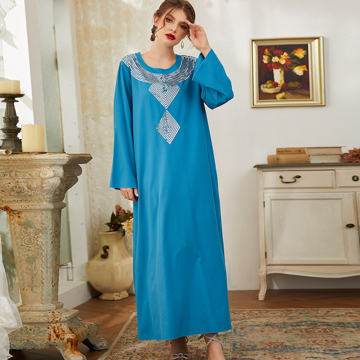 Контрастные блестки Контрастный цвет Геометрический принт Очаровательный Скромный Кафтан и Джалабия
