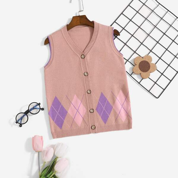 Girls Argyle Pattern Vest Cardigan, Dusty pink