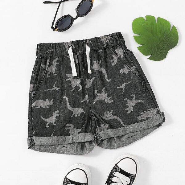 Джинсовые шорты с принтом динозавра для мальчиков, Чёрный