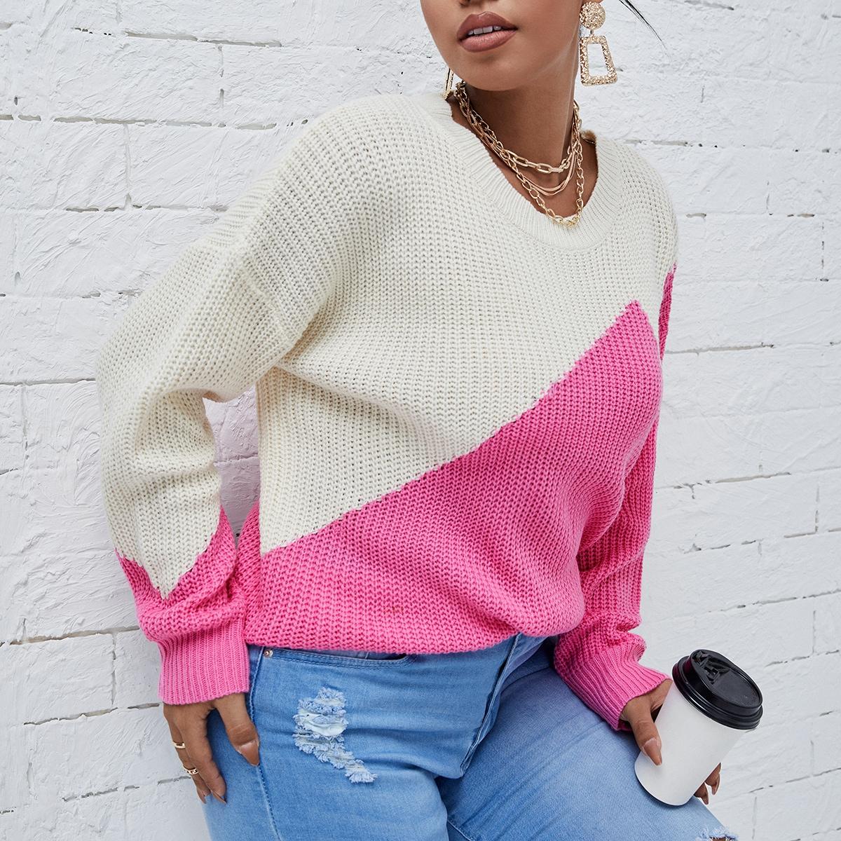 Plus Two Tone Drop Shoulder Sweater