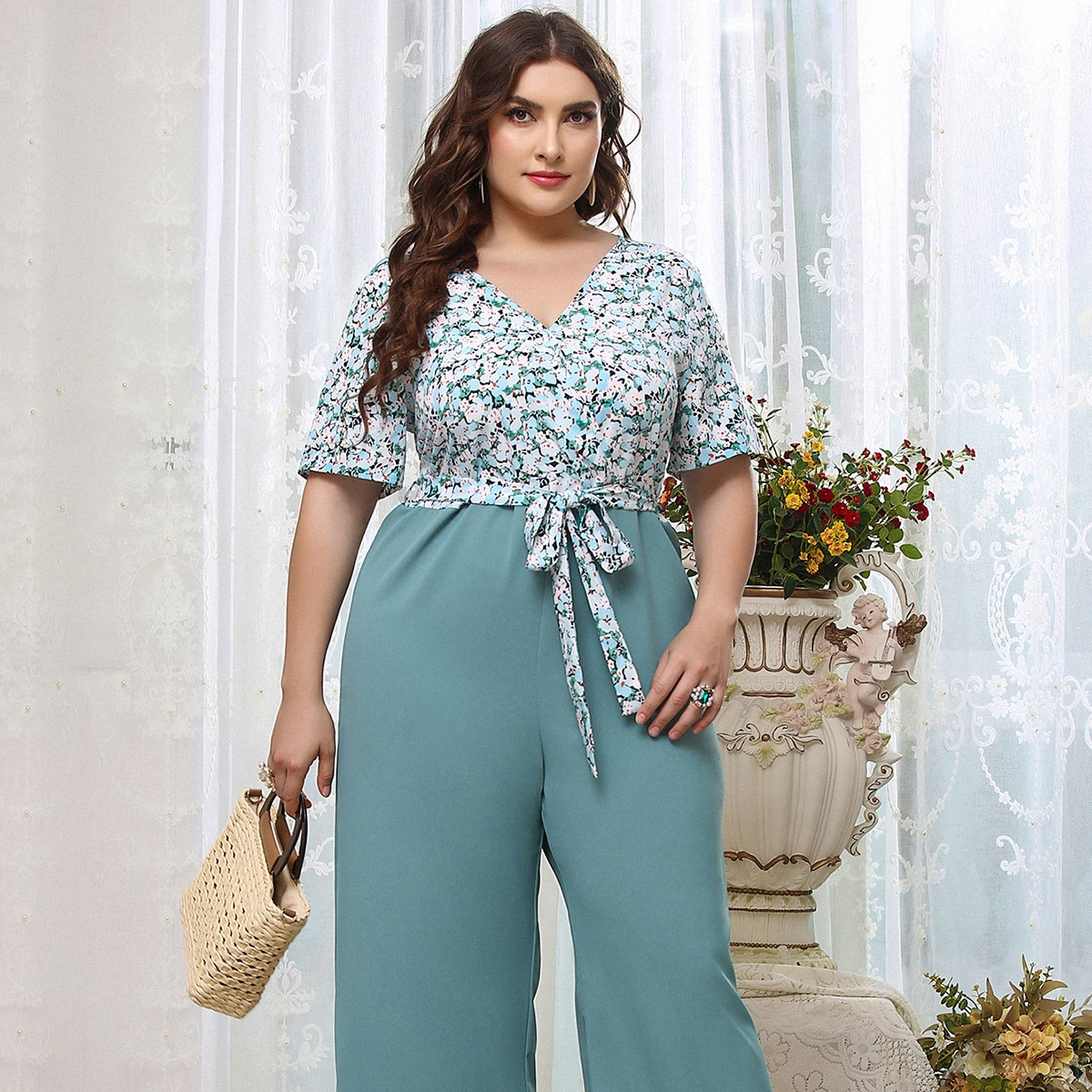 Plus Floral Print 2 In 1 Jumpsuit, SHEIN  - buy with discount