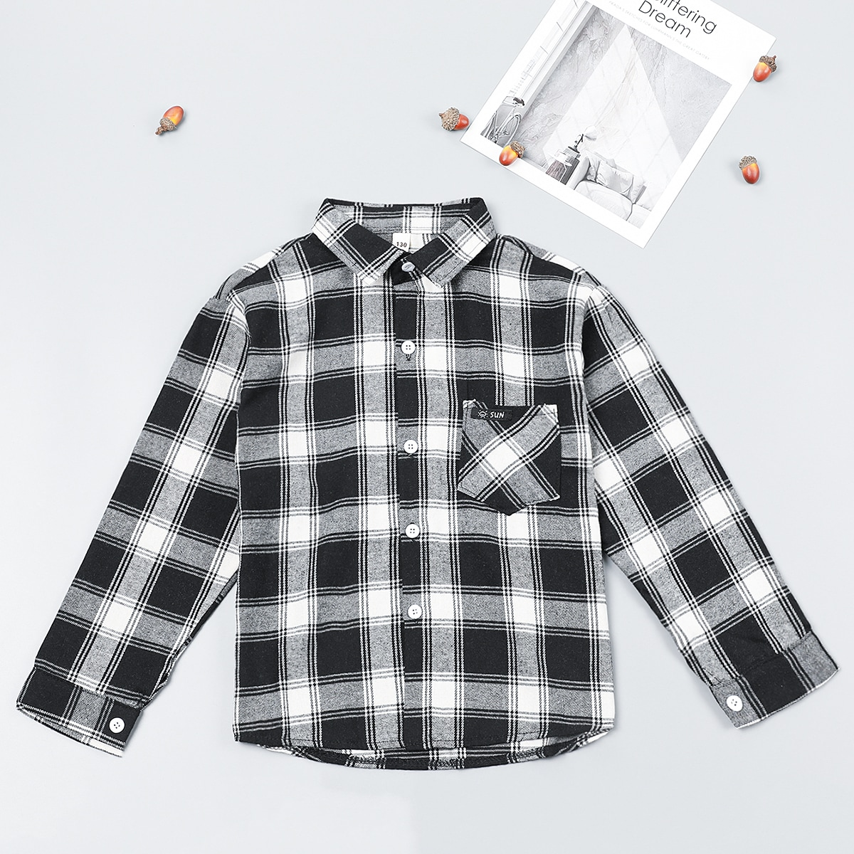 Boys Plaid Print Pocket Front Shirt, SHEIN  - buy with discount