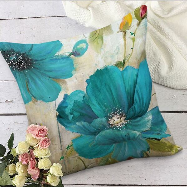Flower Print Cushion Cover Without Filler, Multicolor