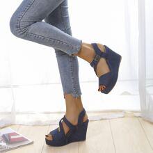 Buckle Decor Wedge Sandals
