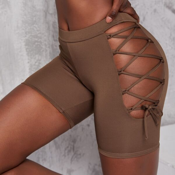 Solid Lace Up Biker Sports Shorts, Coffee brown