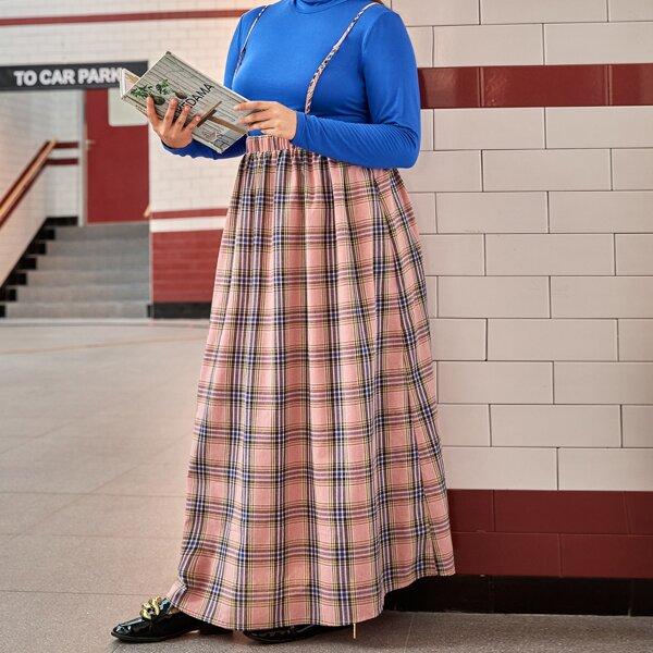 Plus Tartan Pinafore Skirt, Multicolor