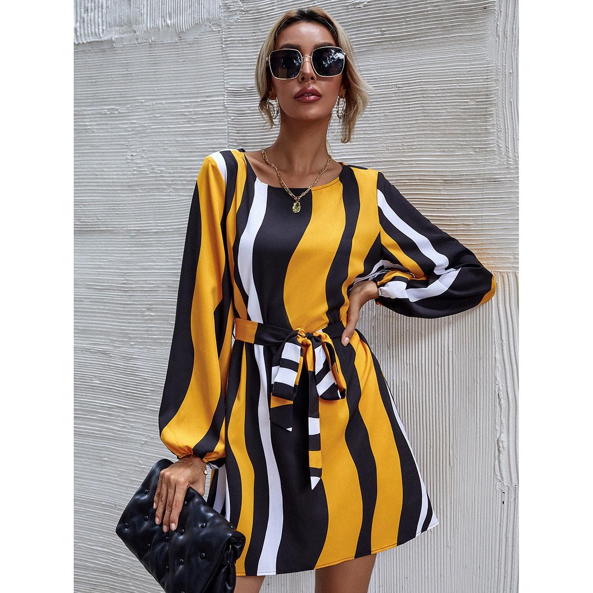 Color Block Belted Dress