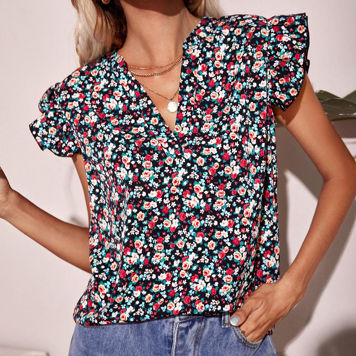 Блуза с цветочным принтом SheIn swblouse23210517930