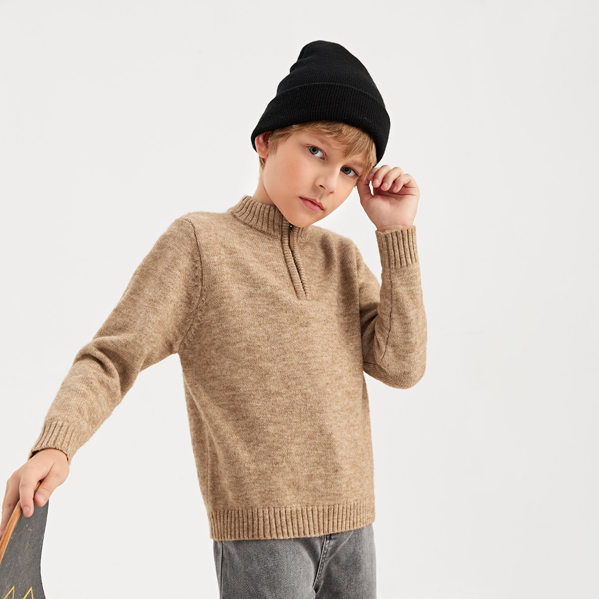 Boys Zipper Half Placket Sweater, SHEIN  - buy with discount