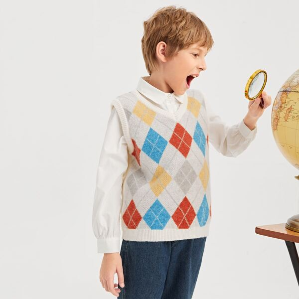 Boys Geo Pattern Sweater Vest Without Shirt, Multicolor