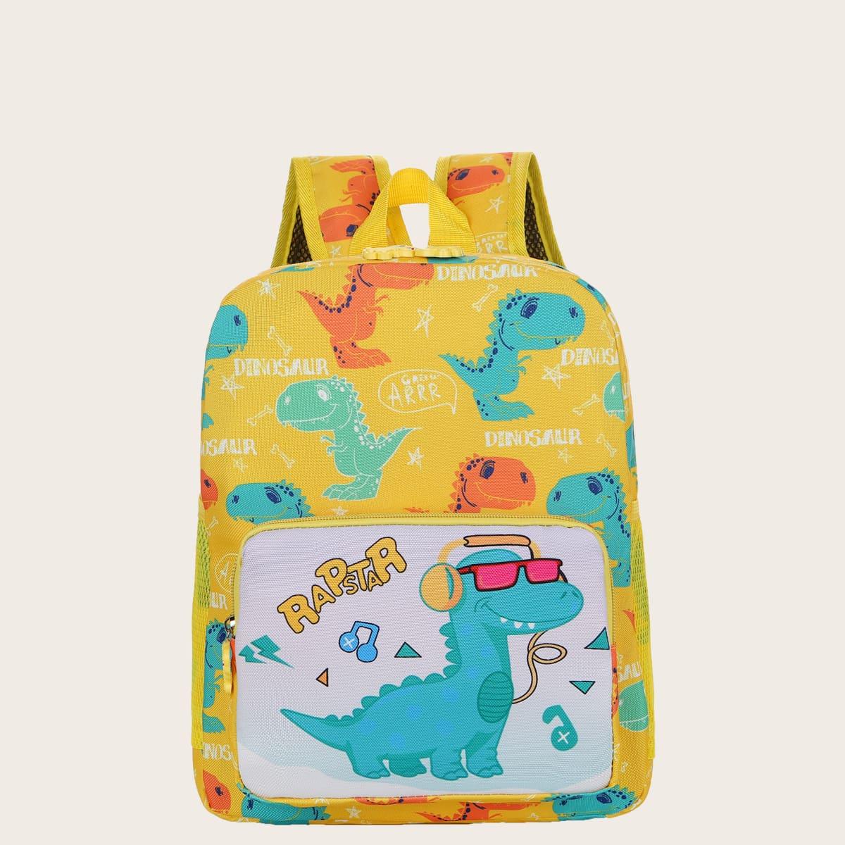 Классический рюкзак с рисунком динозавра и букв для детей