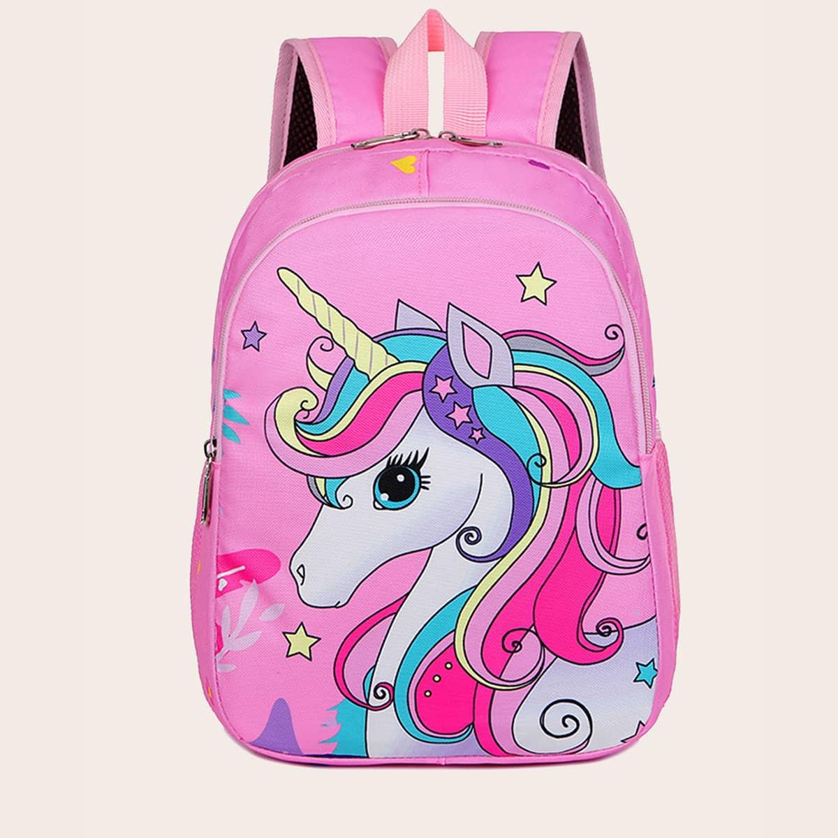 Рюкзак с рисунком единорога для девочек SheIn sk2107113546693317